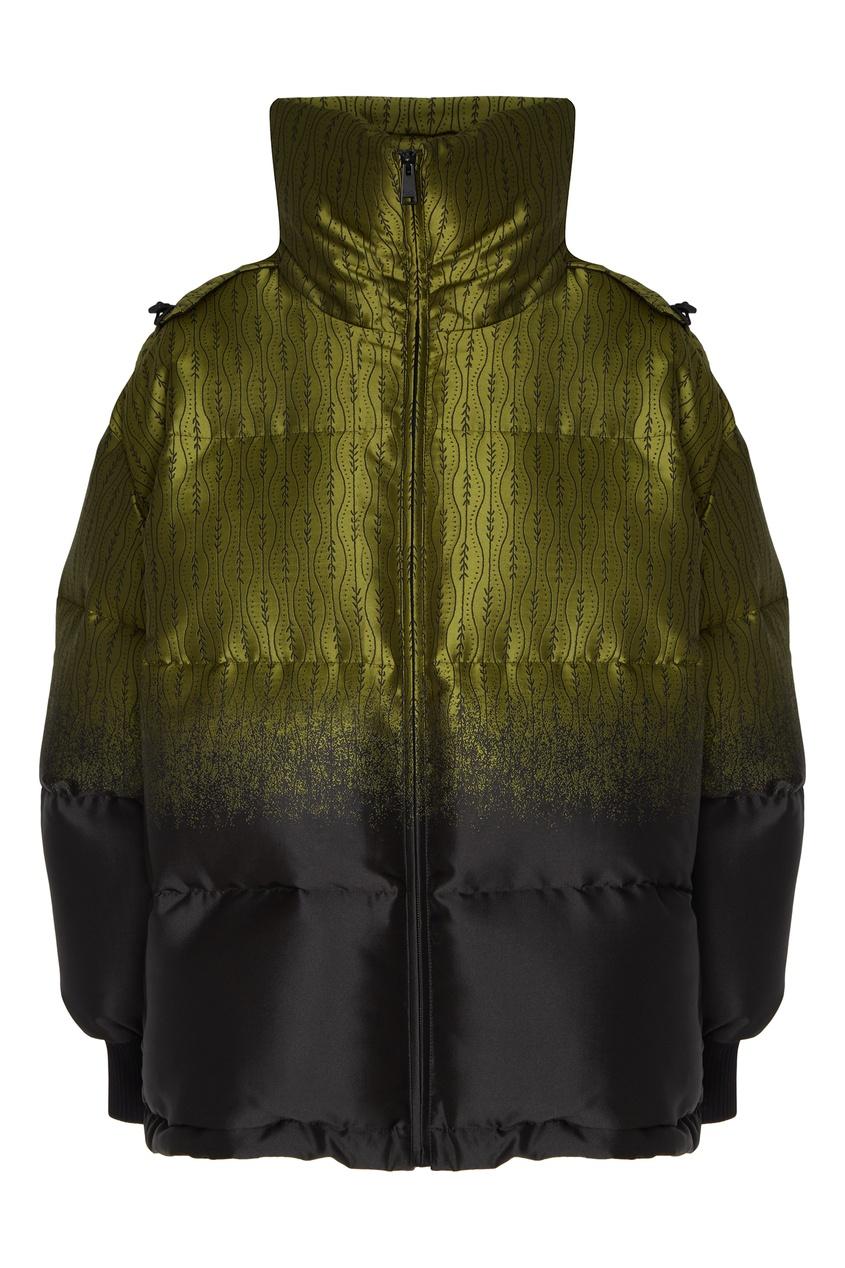 Зеленая стеганая куртка от Fendi