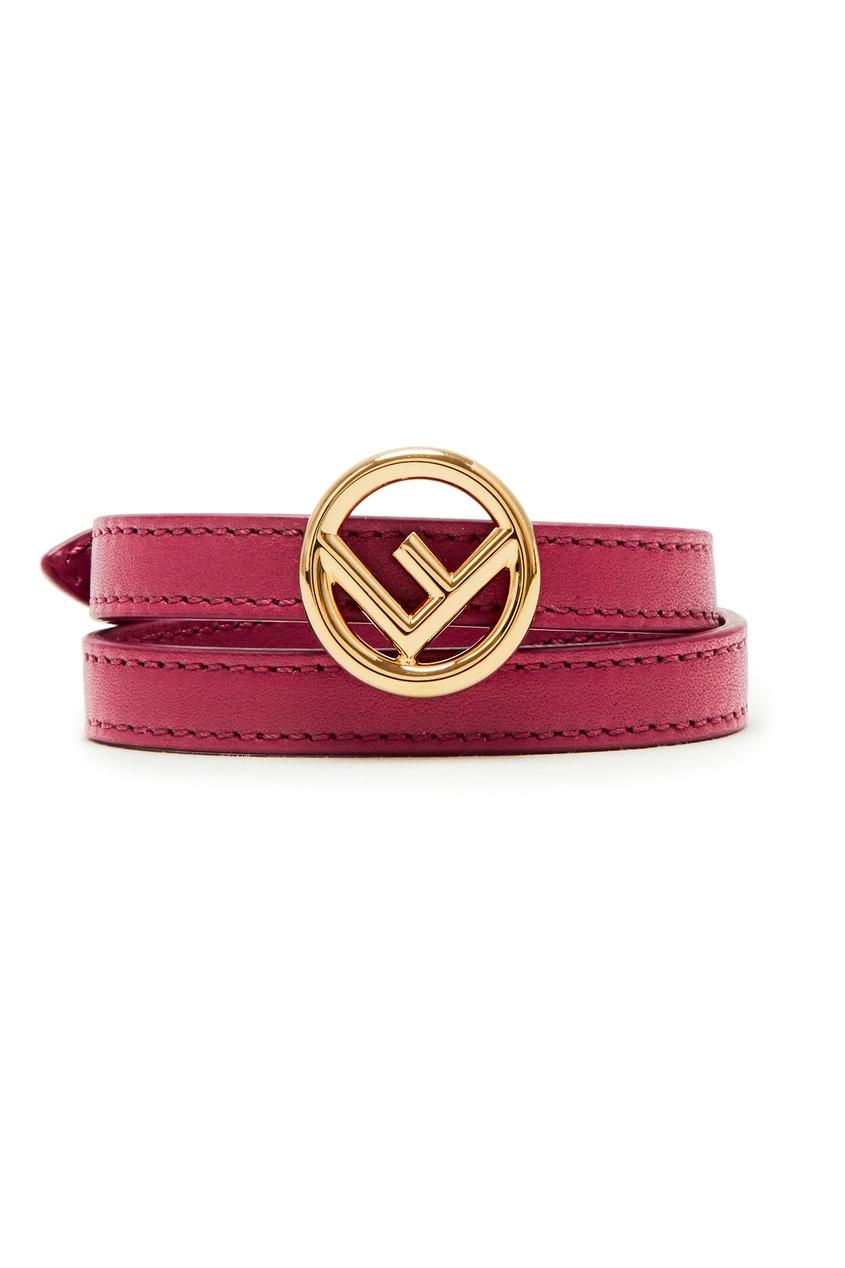 Бордовый браслет с логотипом от Fendi