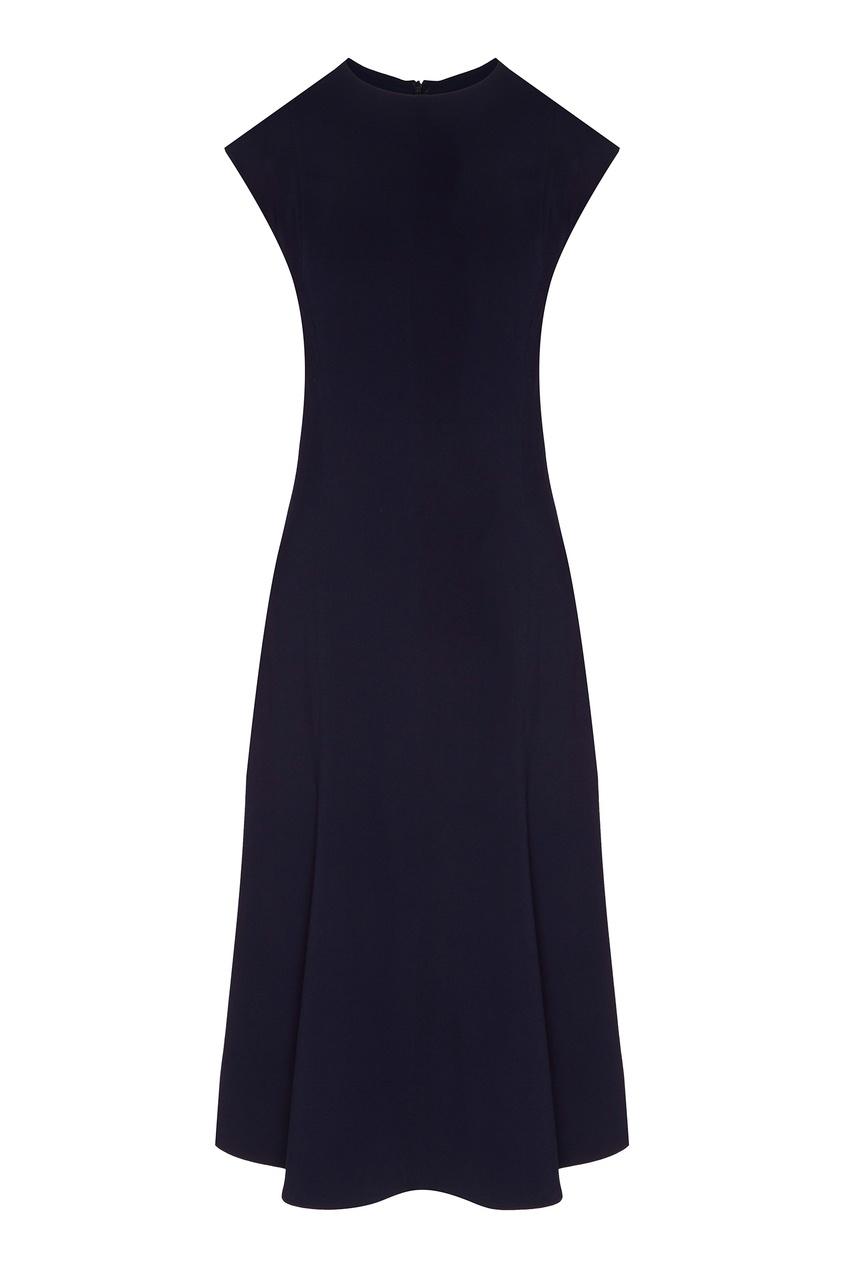 Приталенное платье синего цвета от St. John