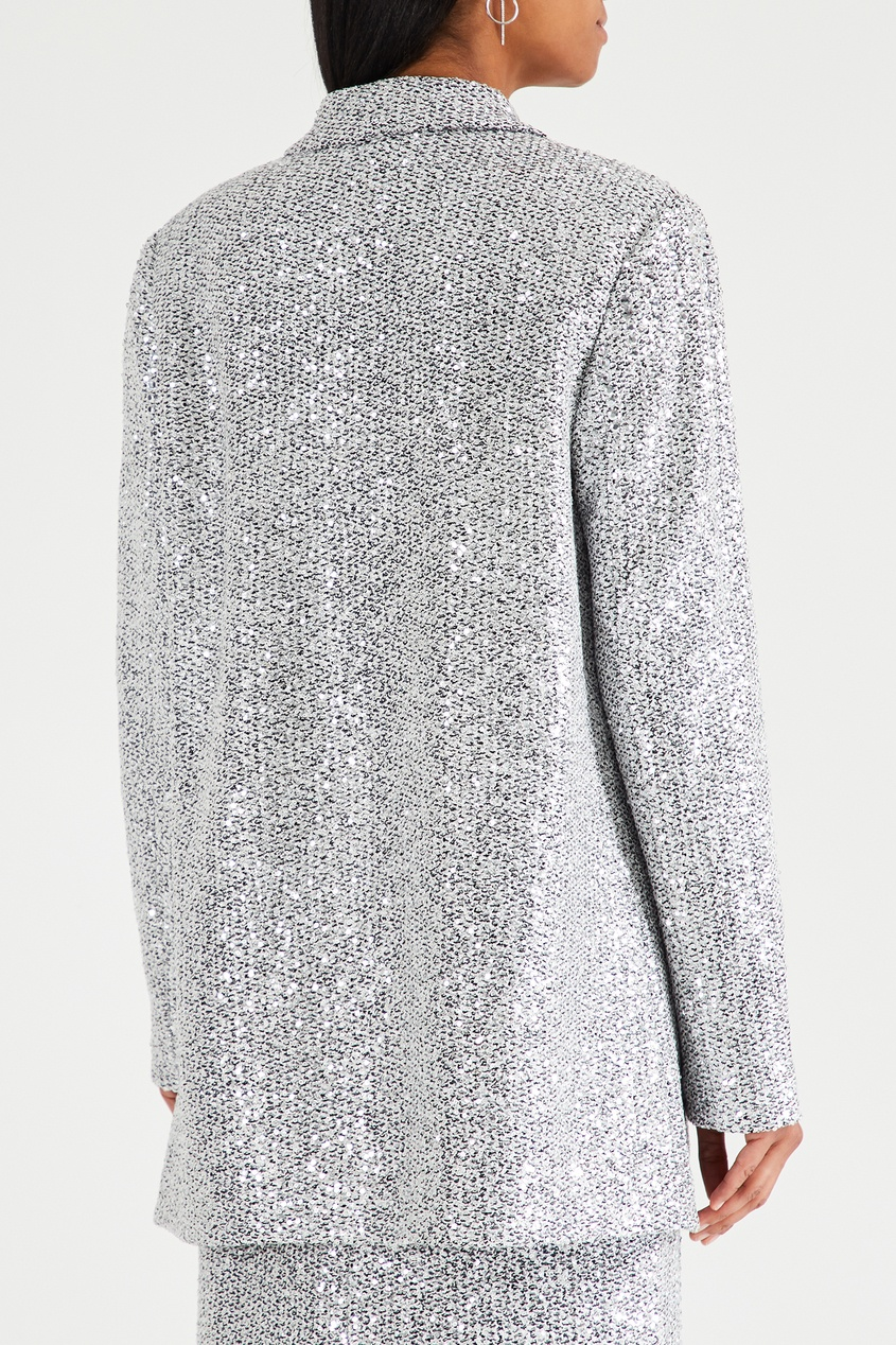 Серебристый пиджак с пайетками от St. John