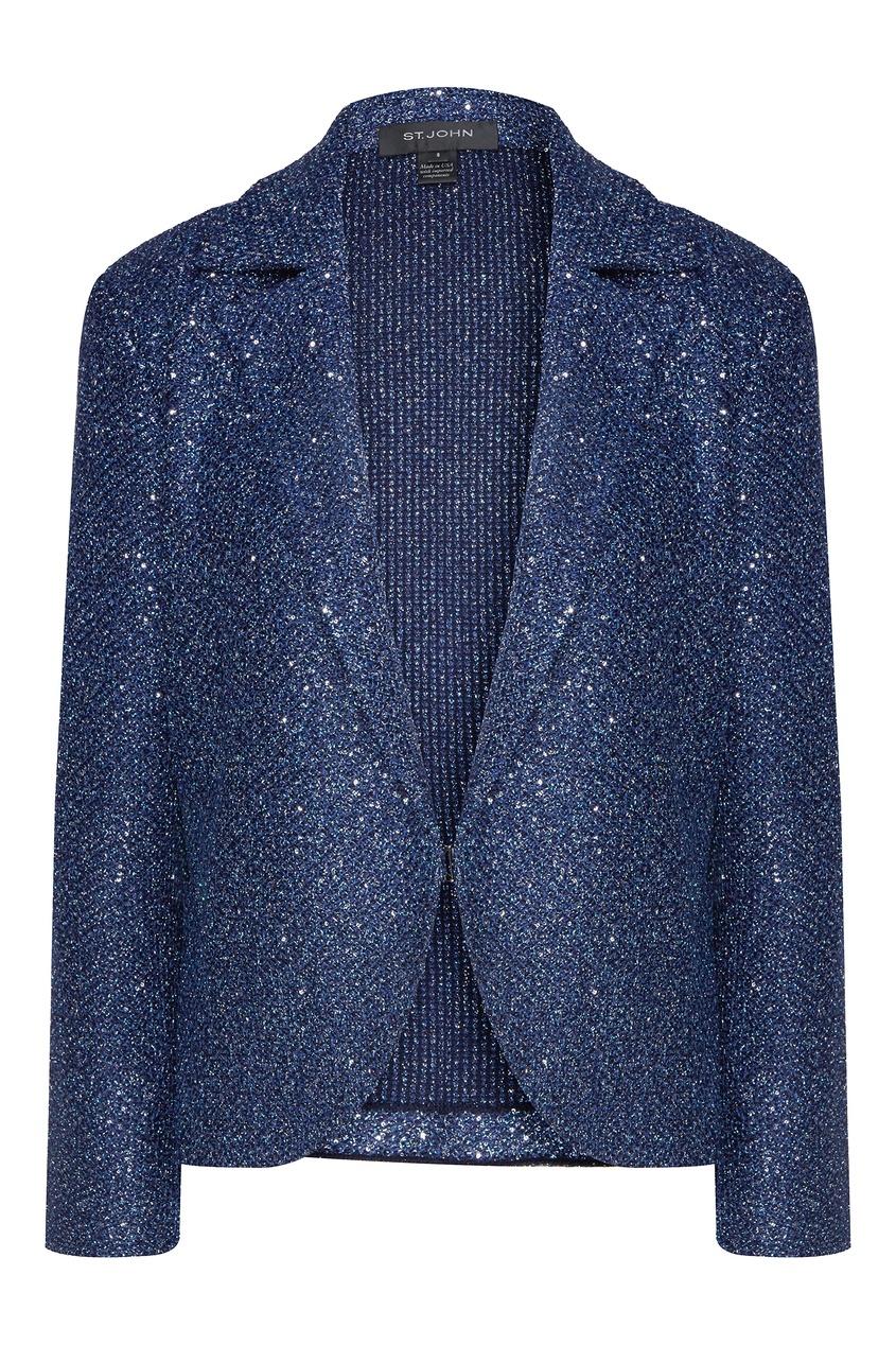 Сверкающий пиджак синего цвета от St. John