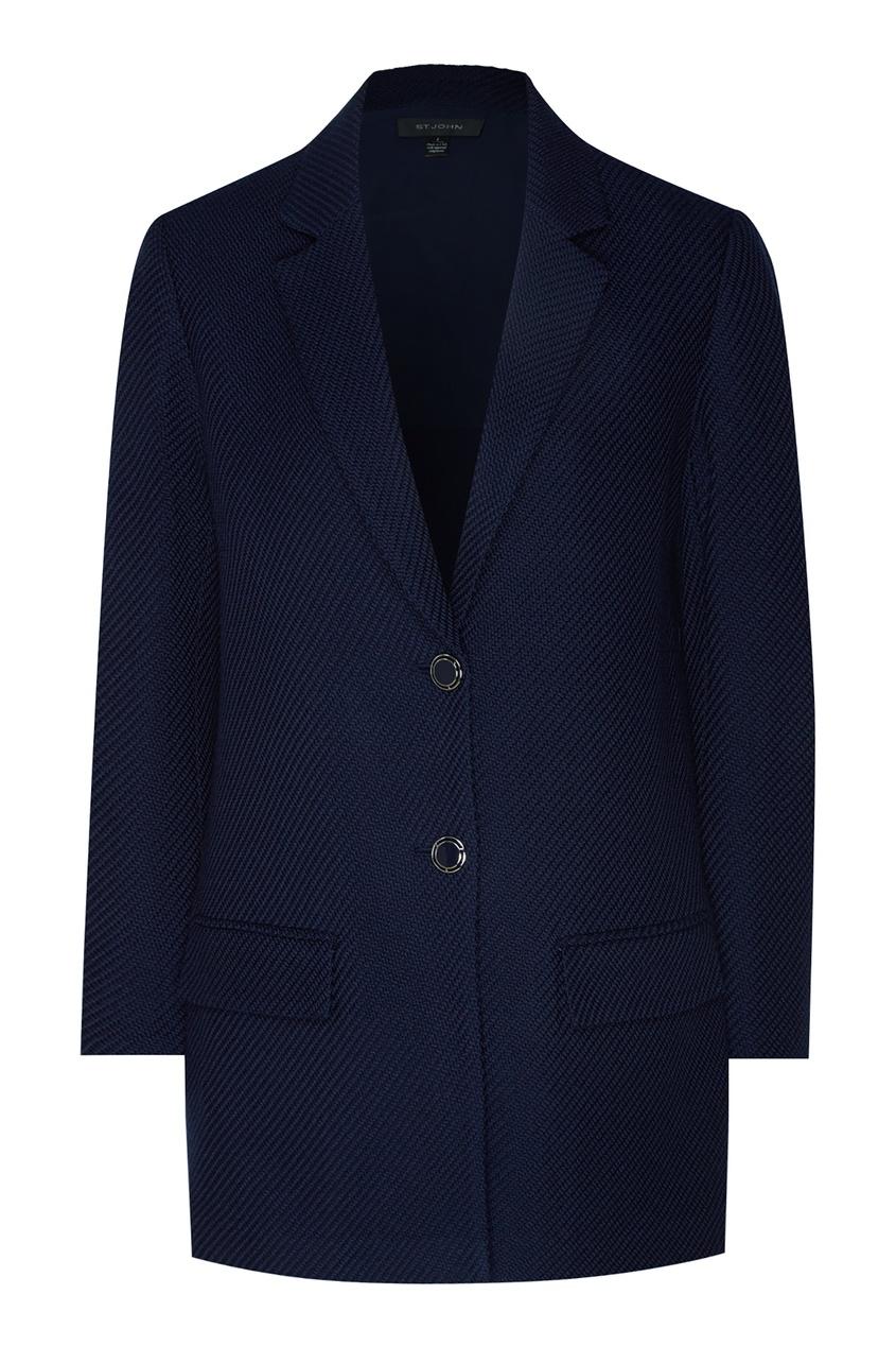 Синий пиджак из вискозы и шерсти от St. John