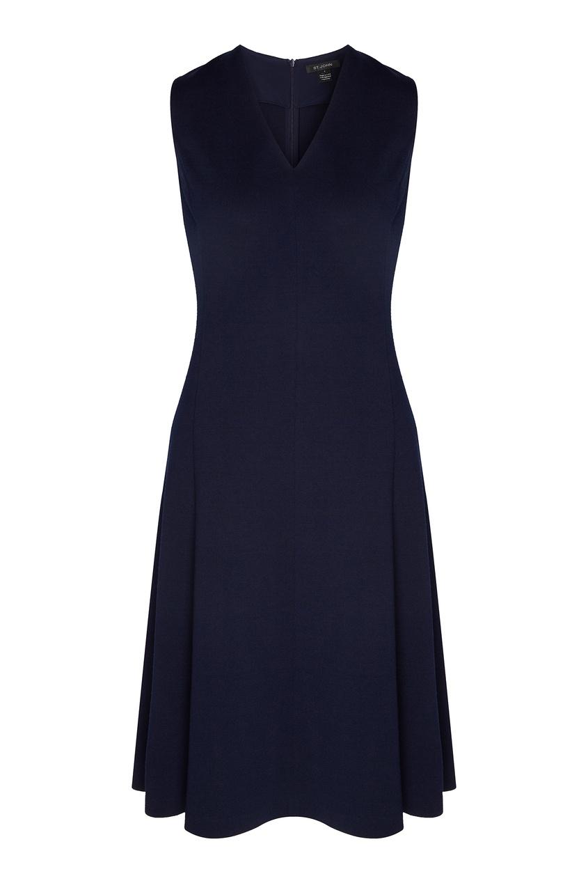 Темно-синее полушерстяное платье от St. John