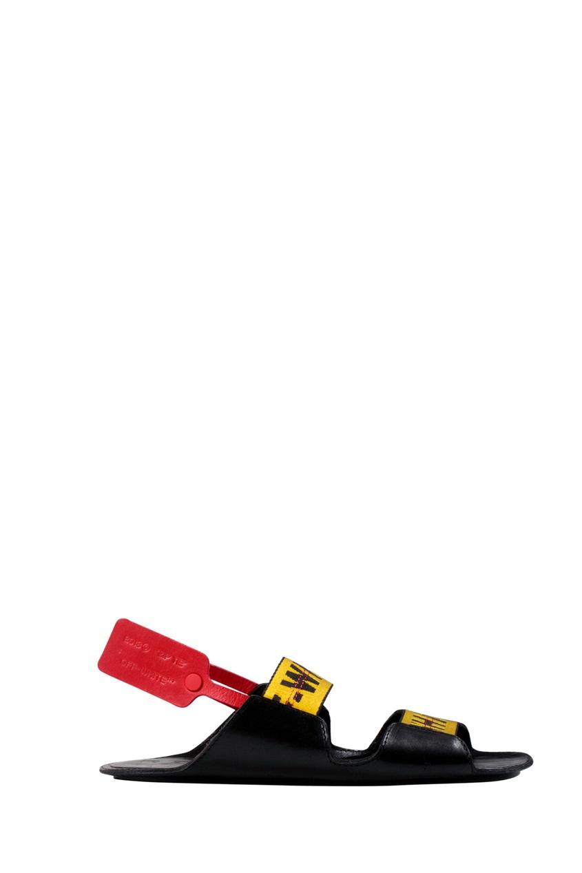 Купить со скидкой Черные сандалии с контрастной отделкой