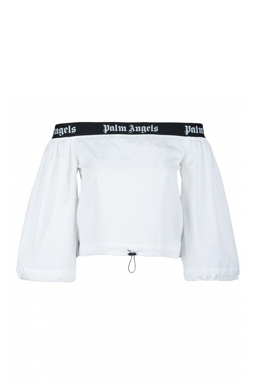 Белая блузка с открытыми плечами от Palm Angels
