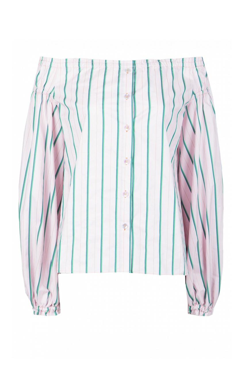 Розовая рубашка с открытыми плечами от Pinko