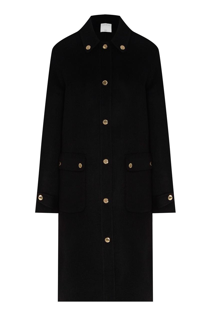 Купить со скидкой Черное шерстяное пальто