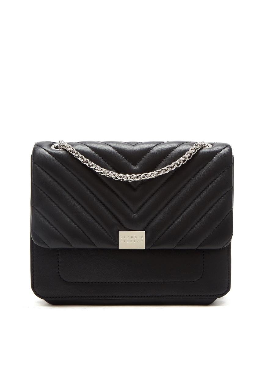 Черная сумка с фактурной отделкой Claudie Pierlot