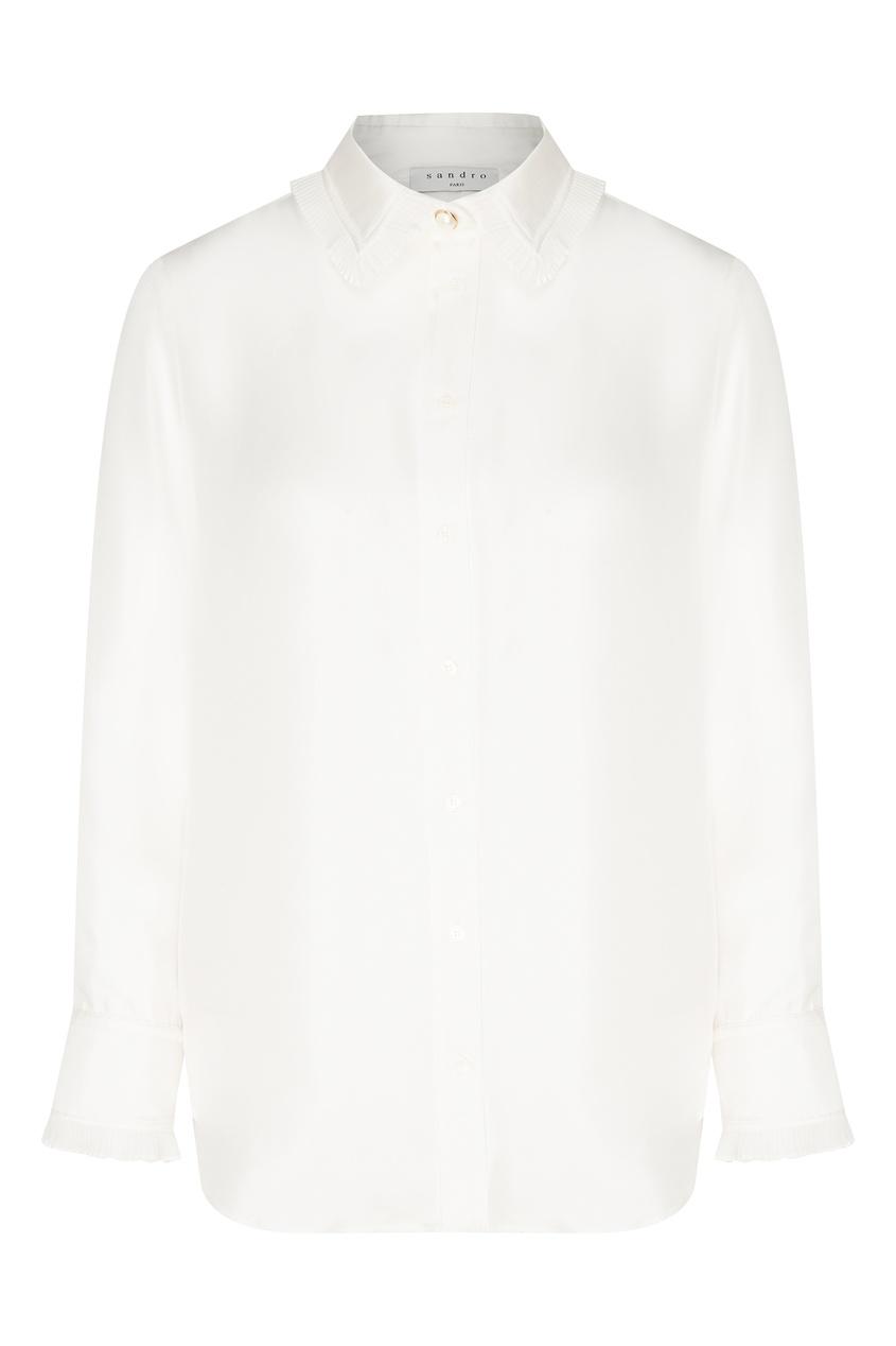 Купить со скидкой Белая блузка с рюшами