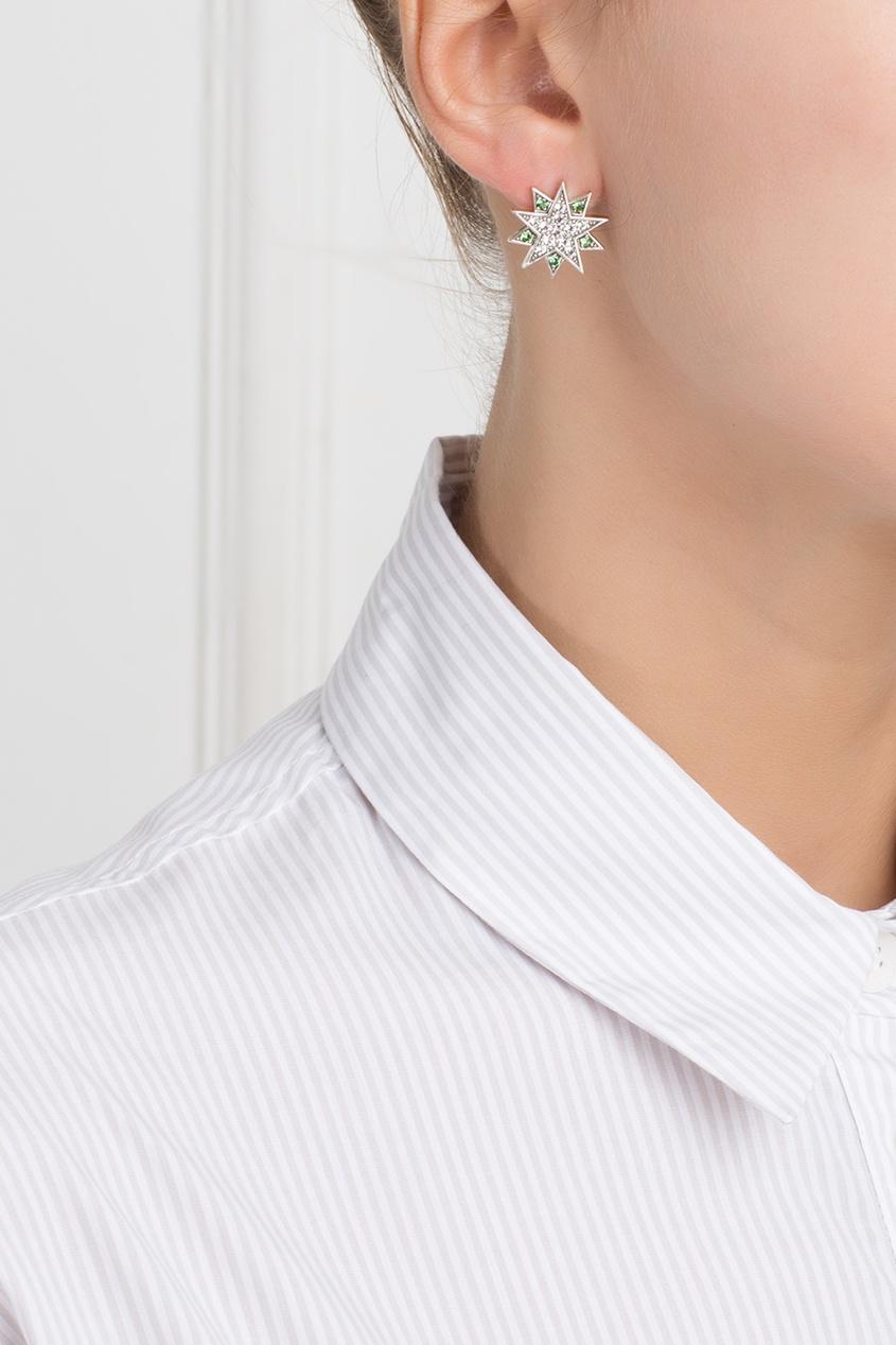 Axenoff Jewellery Серебряные серьги с цаворитами и бесцветными топазами «Зарина» axenoff jewellery серебряные серьги щелкунчик с голубыми топазами и гранатами