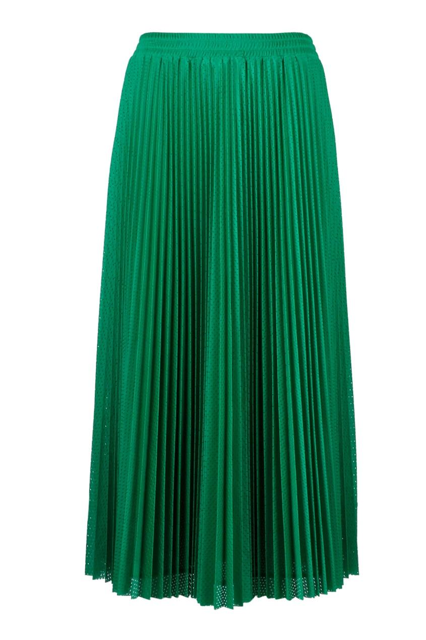 Плиссированная юбка зеленого цвета