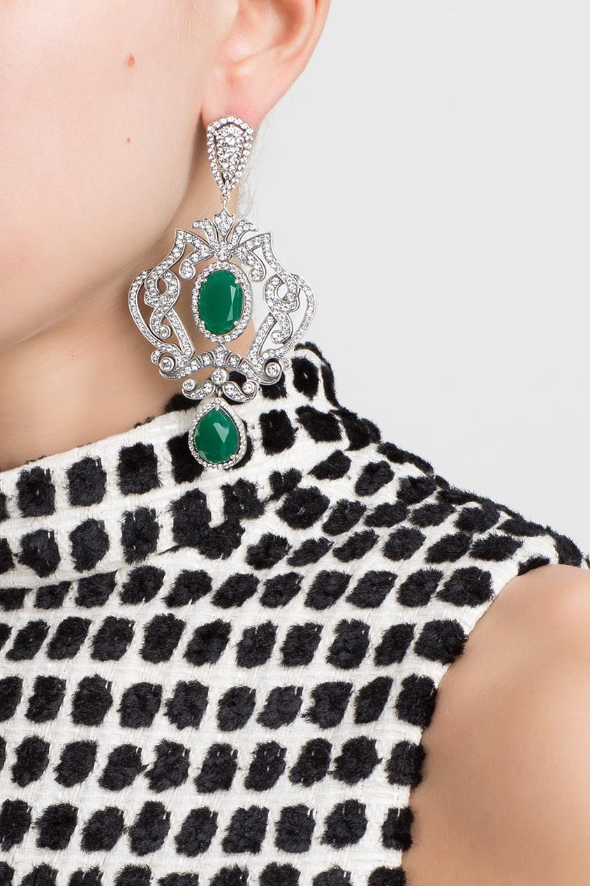 Axenoff Jewellery Серебряные серьги с зелеными агатами и бесцветными топазами «Пирлипат»