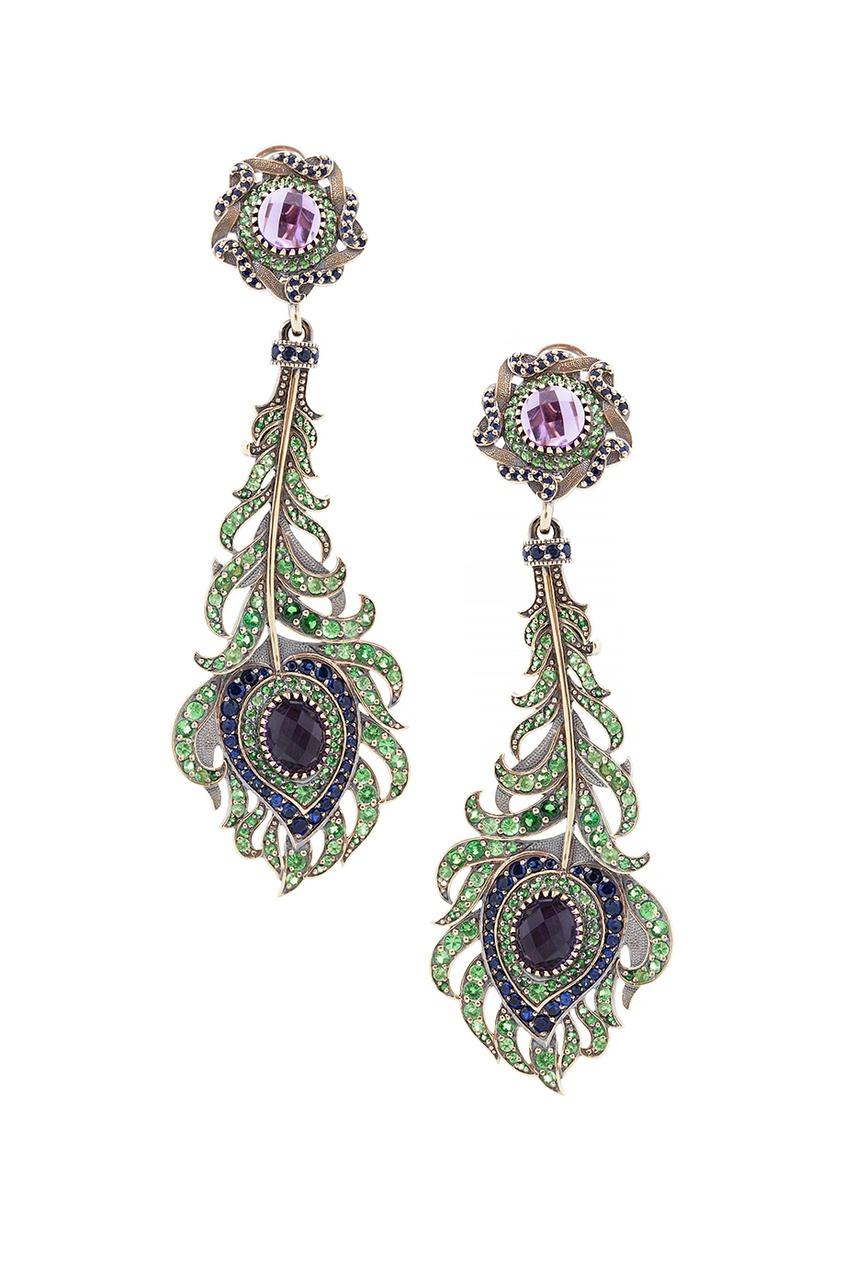 Купить Серебряные серьги с сапфирами, аметистами и зелеными агатами «Перо Павлина» от Axenoff Jewellery серебрянного цвета