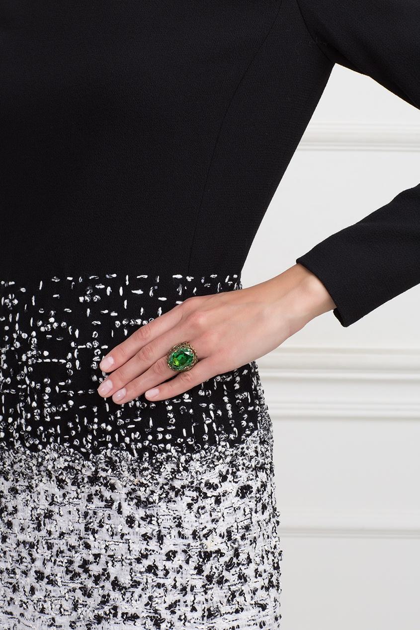 Серебряное кольцо с празеолитом и цаворитами «Ольга»