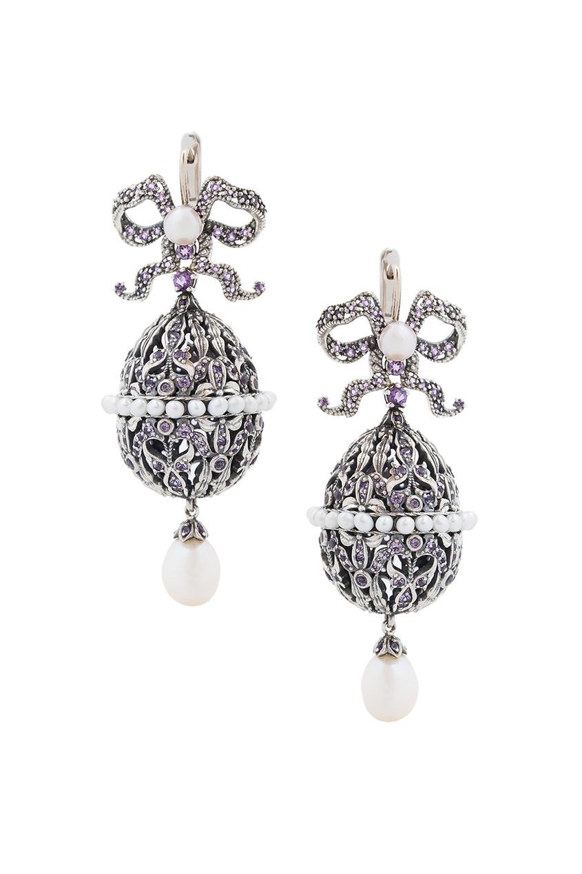 Купить Серебряные серьги с жемчугом и аметистами «Пасхальные Яйца» от Axenoff Jewellery серебрянного цвета