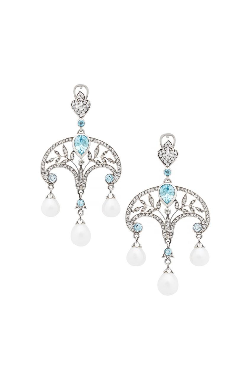 Купить Серебряные серьги с жемчугом, голубыми и бесцветными топазами «Принцесса Ирина» от Axenoff Jewellery серебрянного цвета