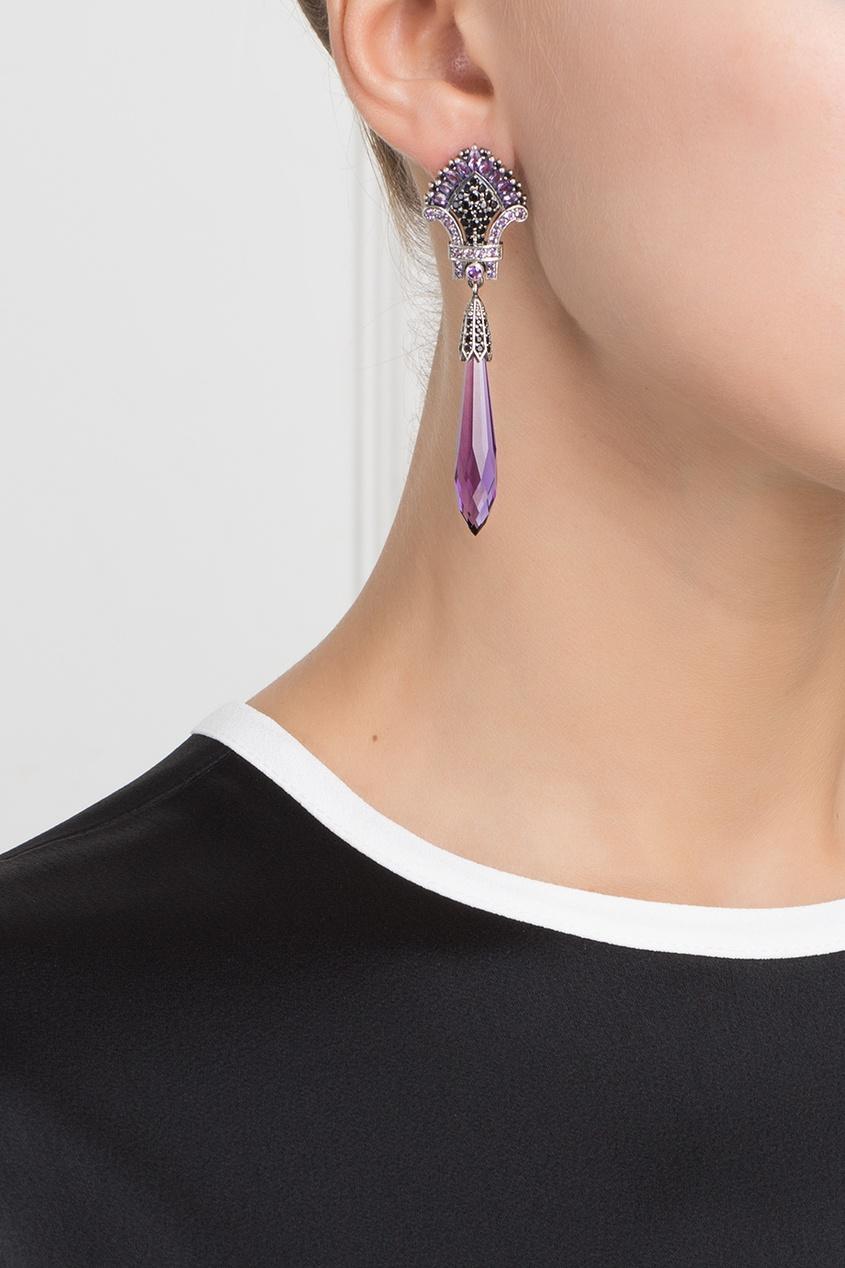 Axenoff Jewellery Серебряные серьги с аметистами и черной шпинелью «Кокошники»