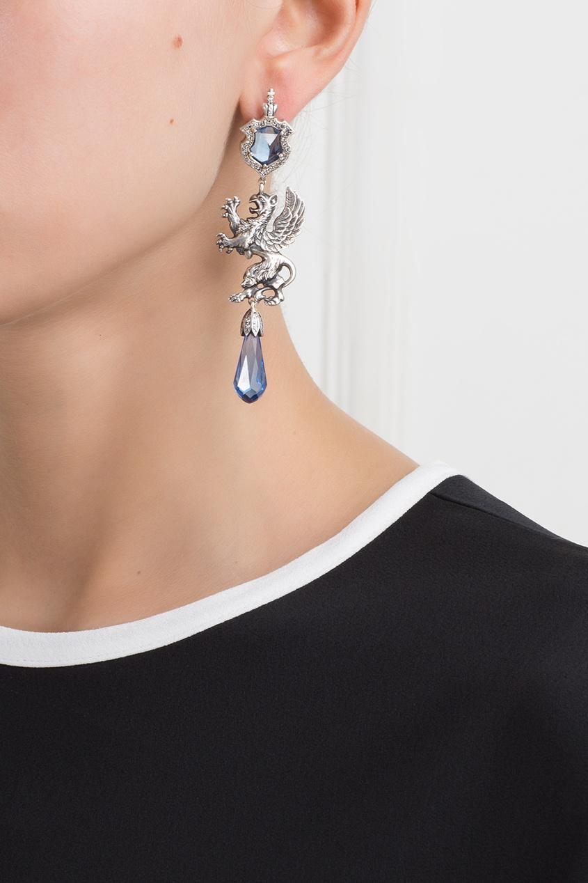 Axenoff Jewellery Серебряные серьги с сапфирами и бесцветными топазами «Гриффоны»