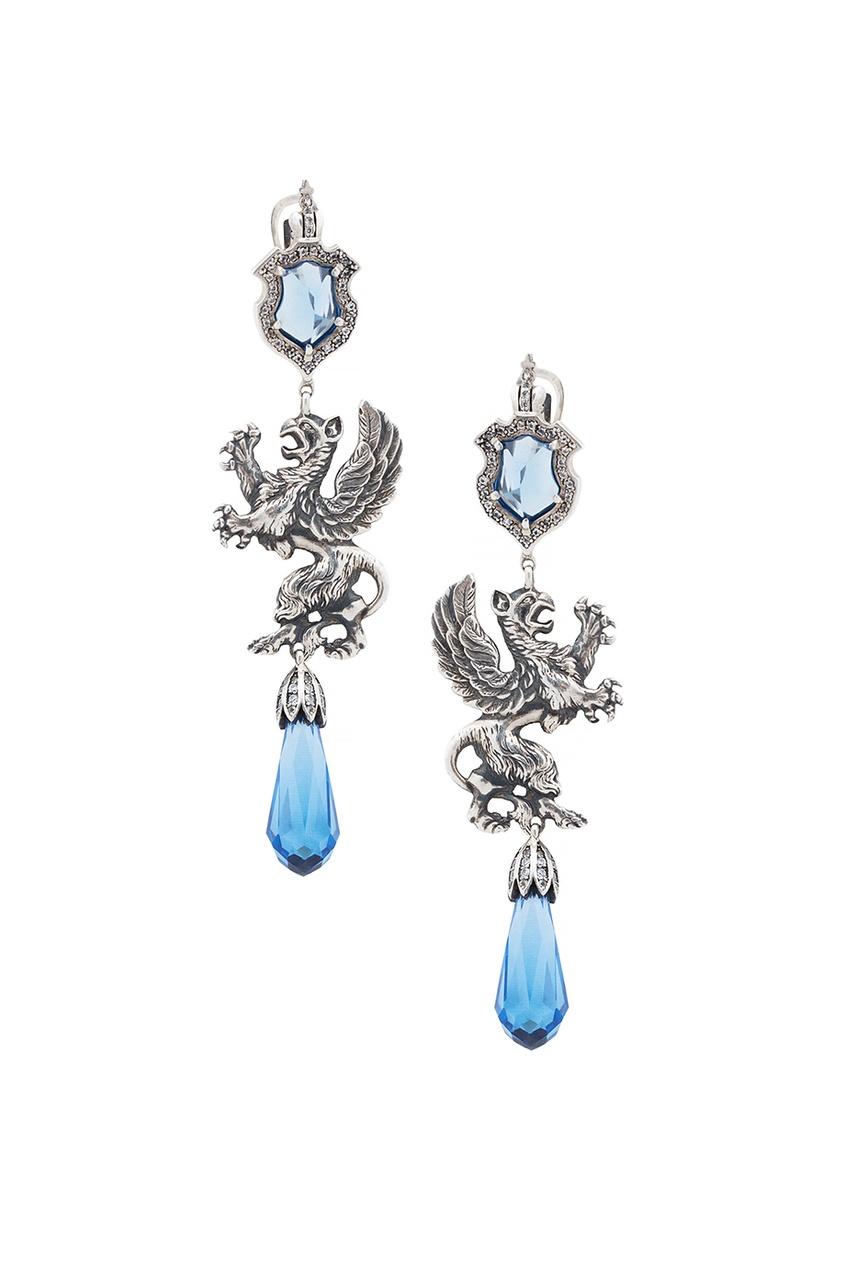 Купить Серебряные серьги с сапфирами и бесцветными топазами «Гриффоны» от Axenoff Jewellery голубого цвета
