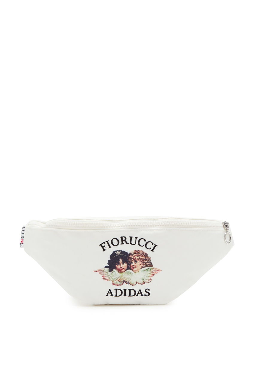 Белая сумка на пояс с принтом