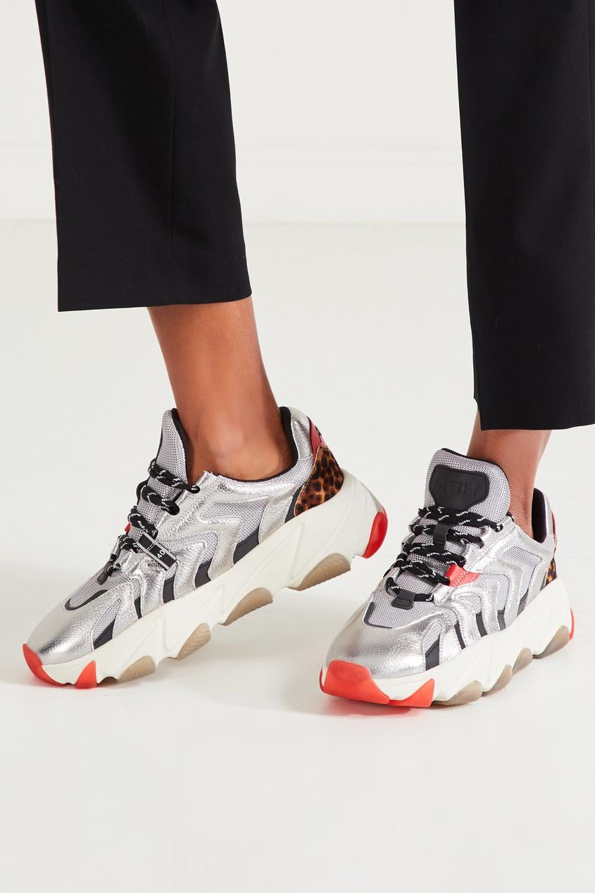 Фото 5 - Серебристые кожаные кроссовки Extreme цвет multicolor