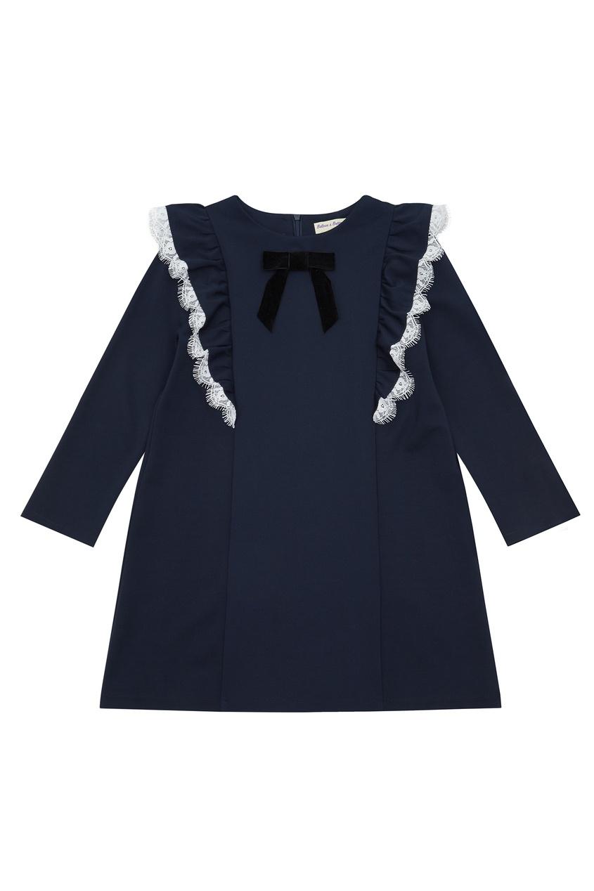Темно-синее платье с оборками