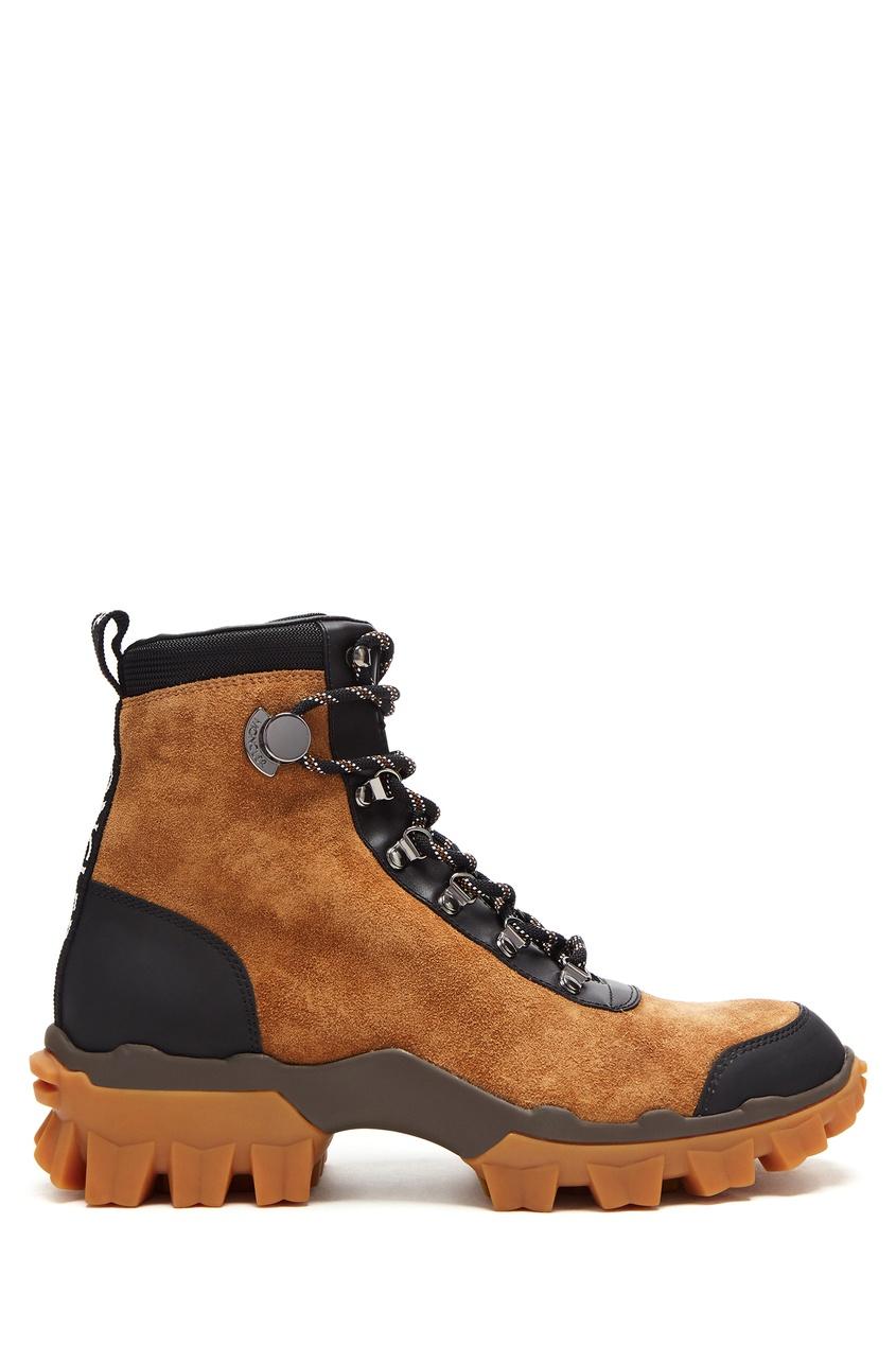 Коричневые ботинки на шнуровке от Moncler