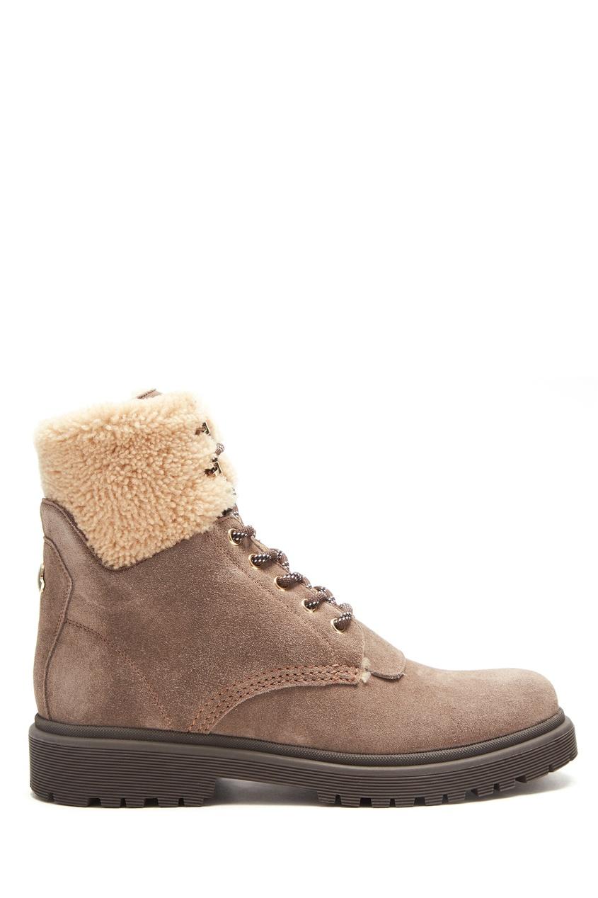 Бежевые ботинки с меховой отделкой от Moncler