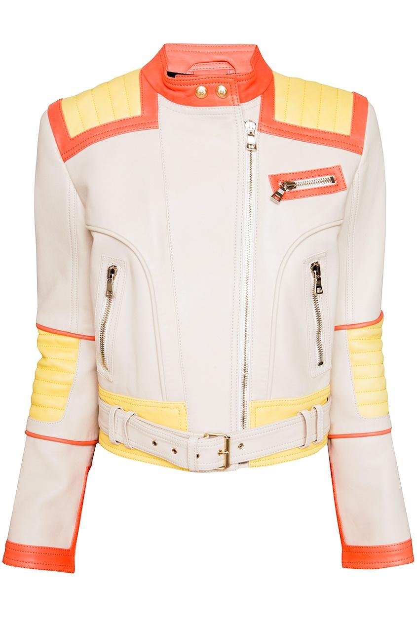 Кожаная куртка Balmain. Цвет: бежевый
