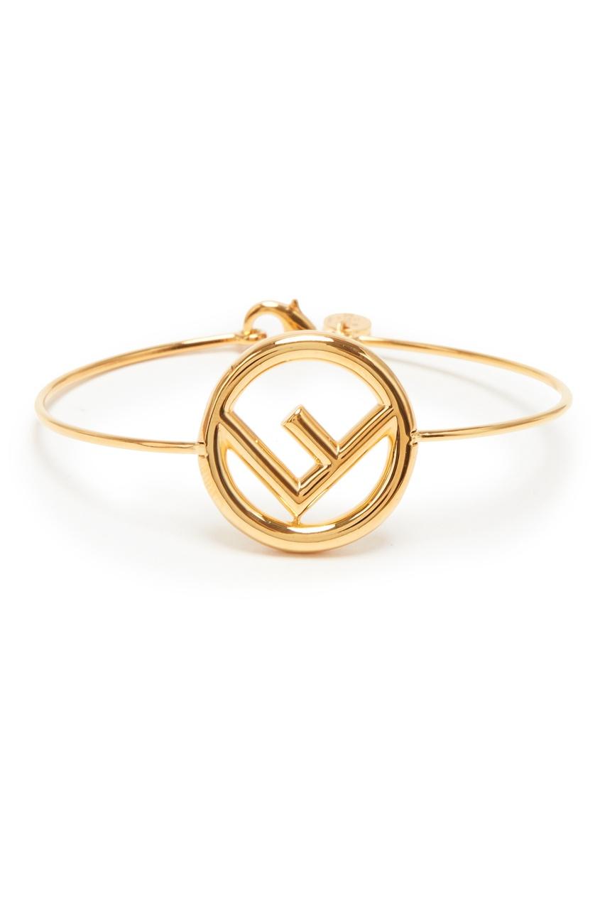 Золотистый браслет с логотипом от Fendi
