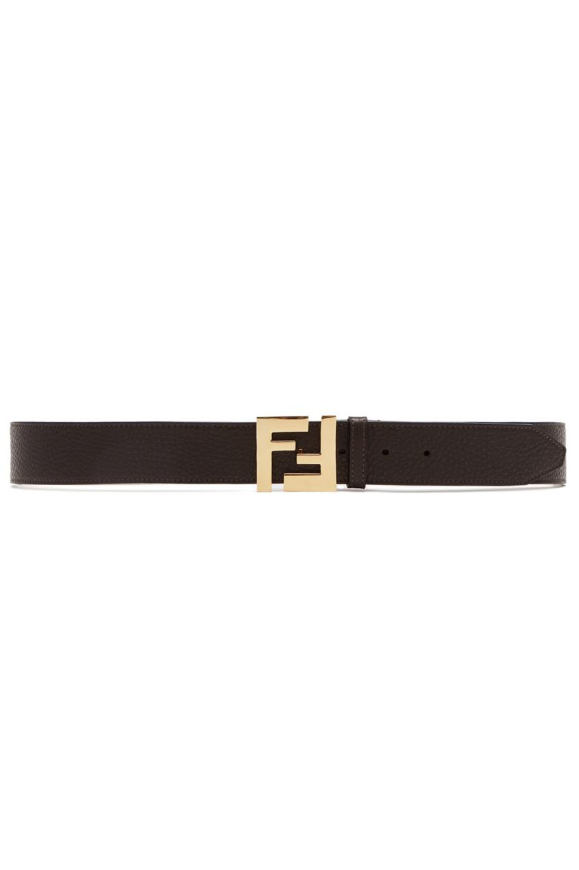 Черный ремень с золотистой пряжкой-монограммой Fendi