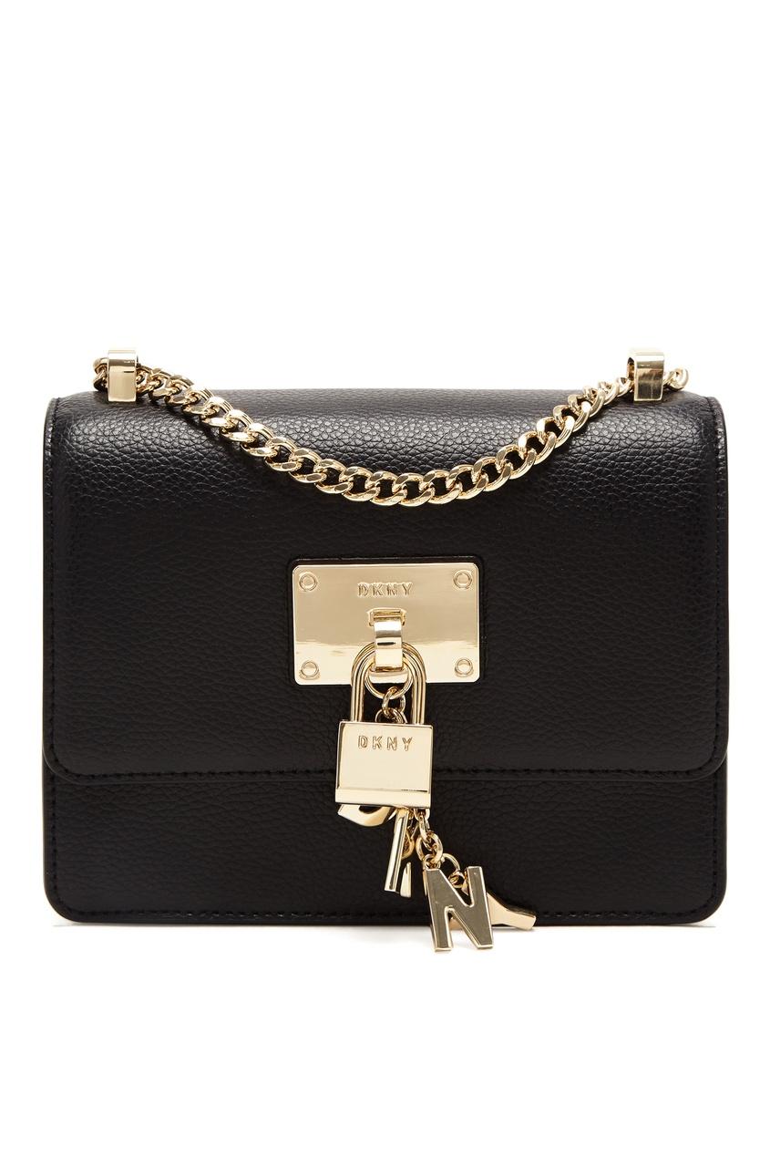 Черная сумка-кроссбоди с подвеской DKNY