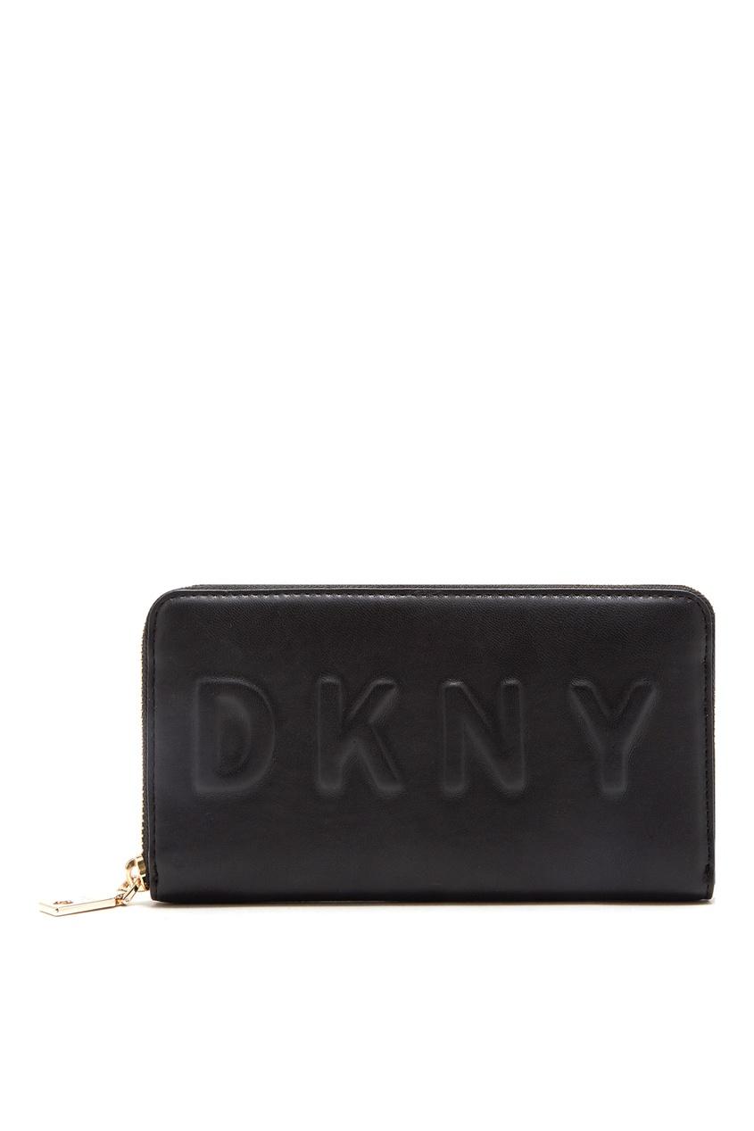Черный кошелек с логотипом DKNY