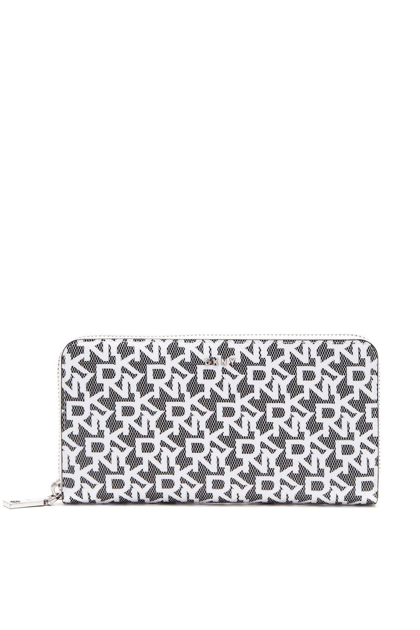 Серый прямоугольный кошелек с монограммами DKNY