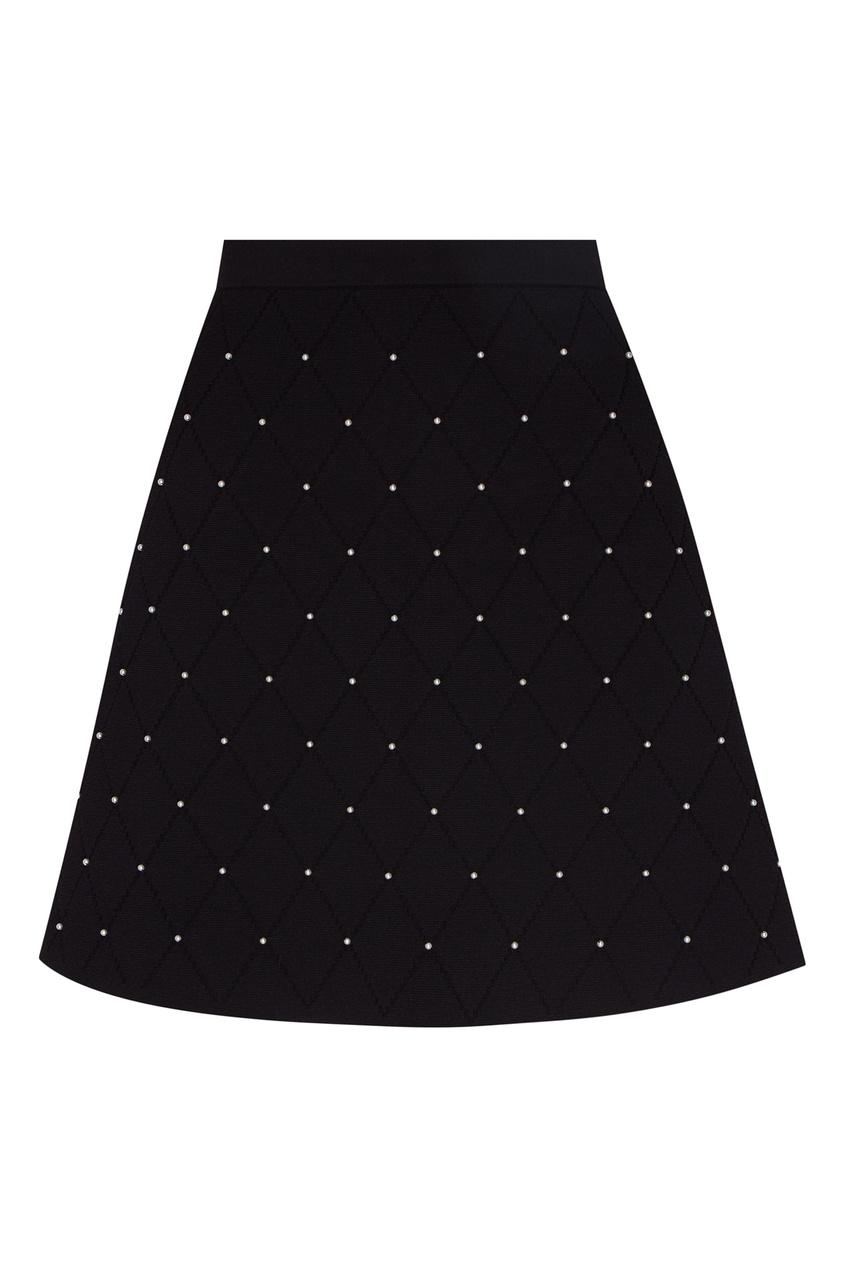 Стеганая юбка с бусинами Sandro