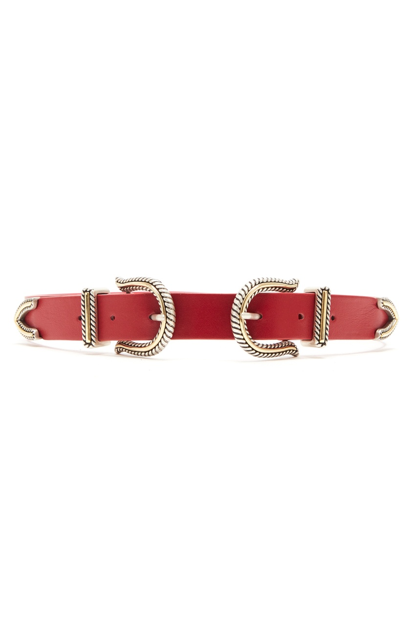 Красный ремень с двумя пряжками Maje