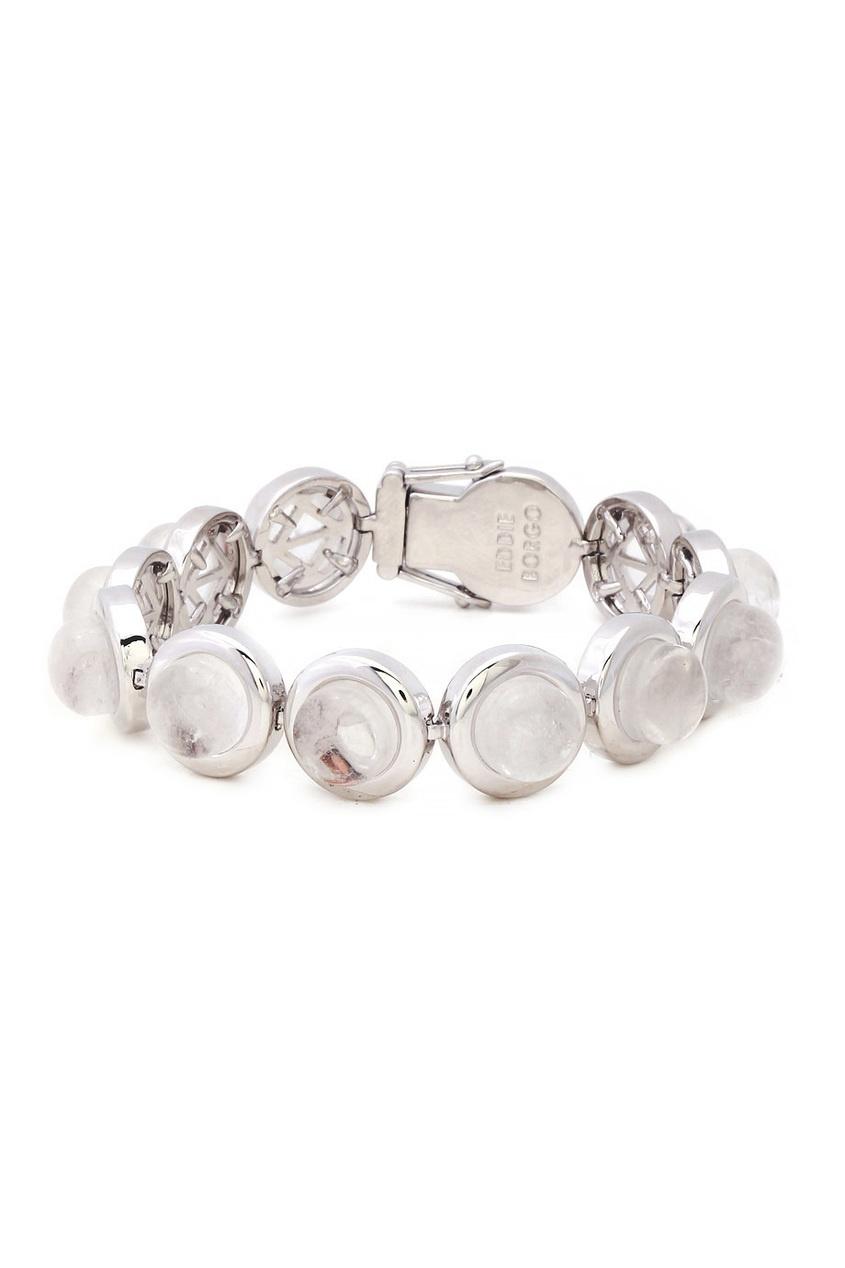Посеребренный браслет с кристаллами