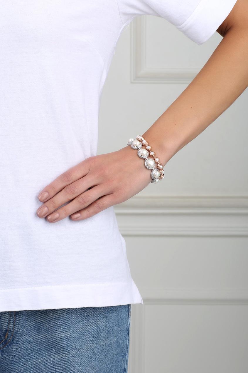 Посеребренный браслет с кристаллами и жемчугом