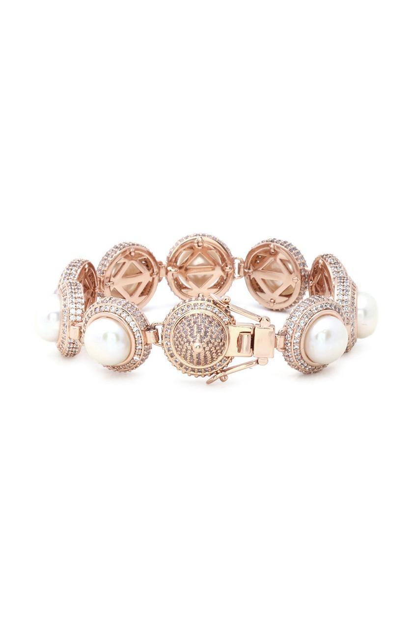 Позолоченный браслет с кристаллами и жемчугом