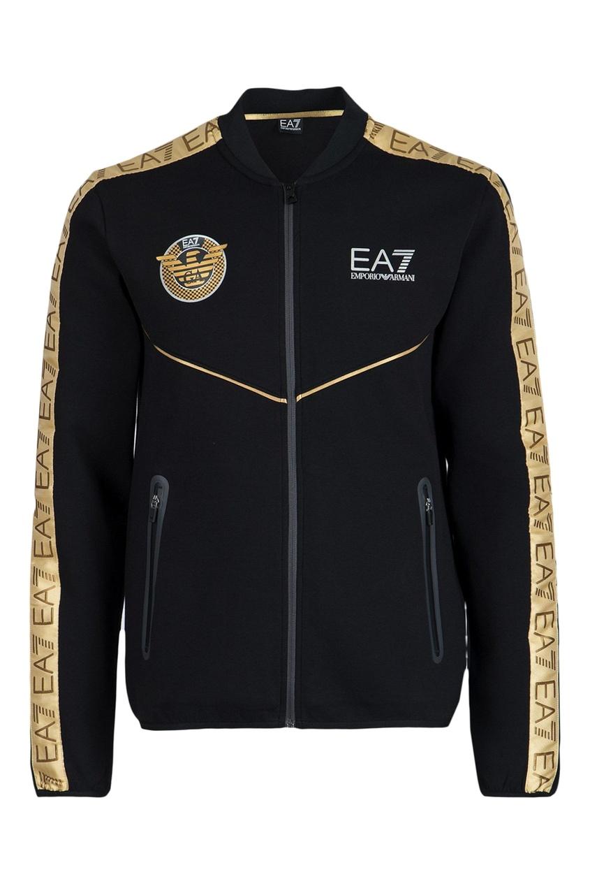 Черный спортивный костюм с золотистым декором EA7