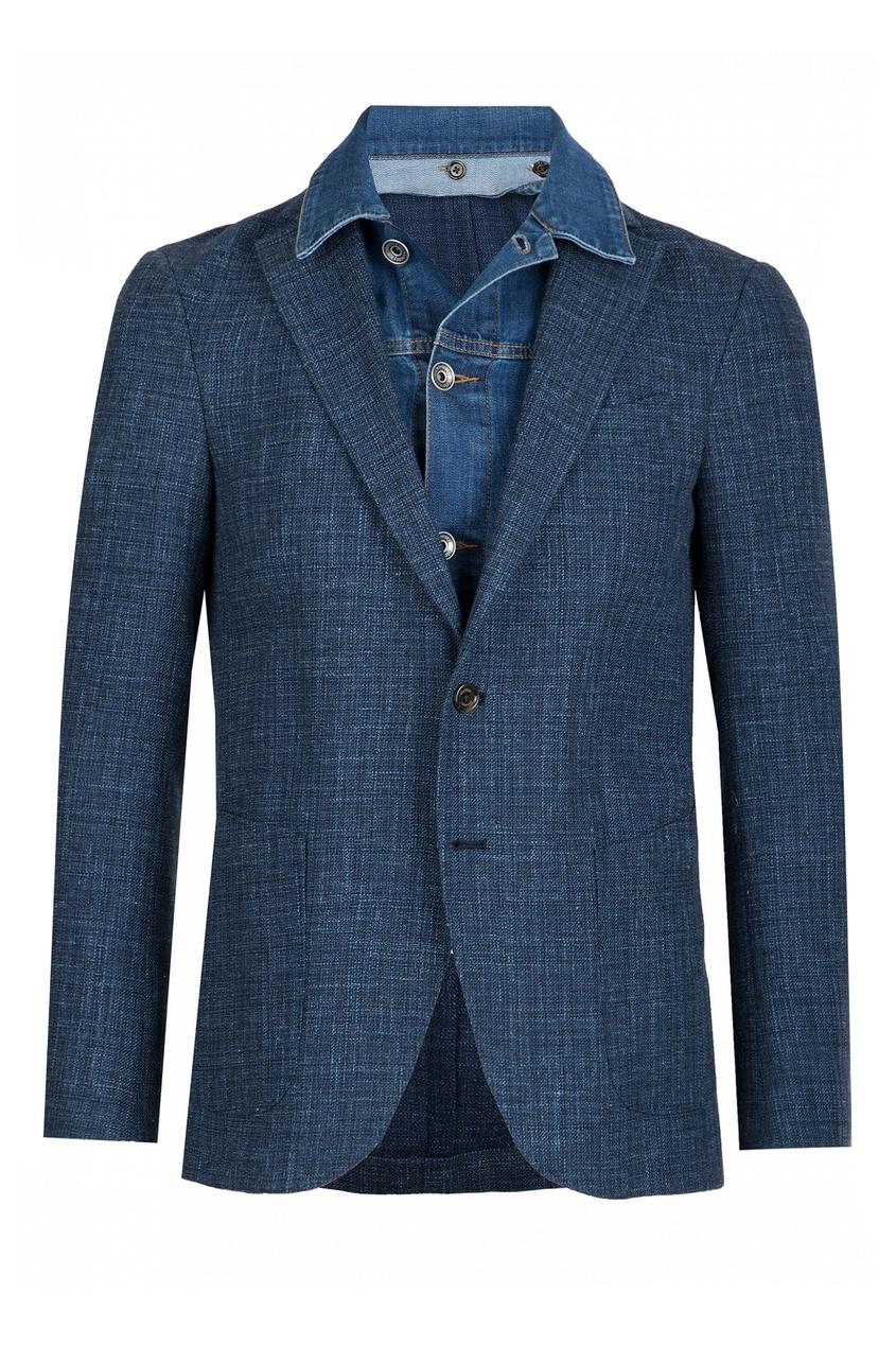 Синий пиджак с джинсовой вставкой ELEVENTY