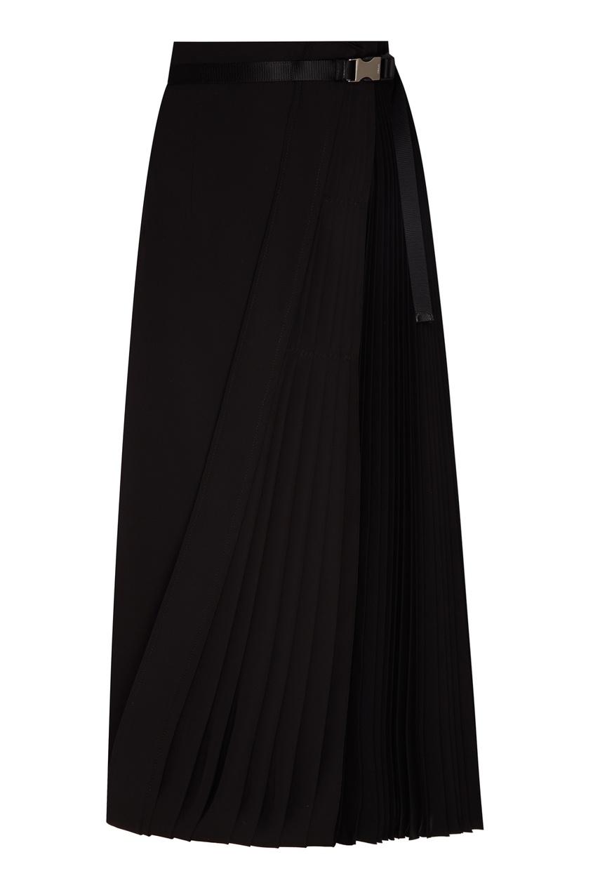 Длинная юбка с плиссированной вставкой PRADA