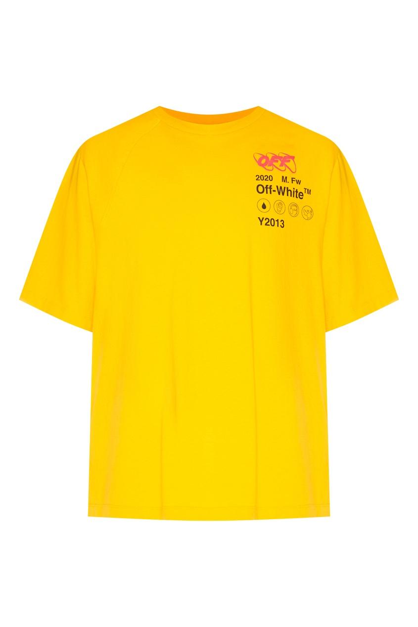 Купить со скидкой Желтая футболка с логотипом