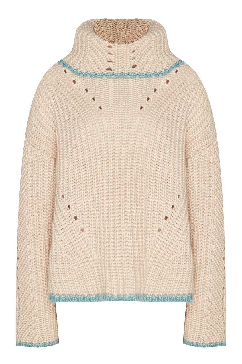 Бежевый свитер с ажурной отделкой от Fendi