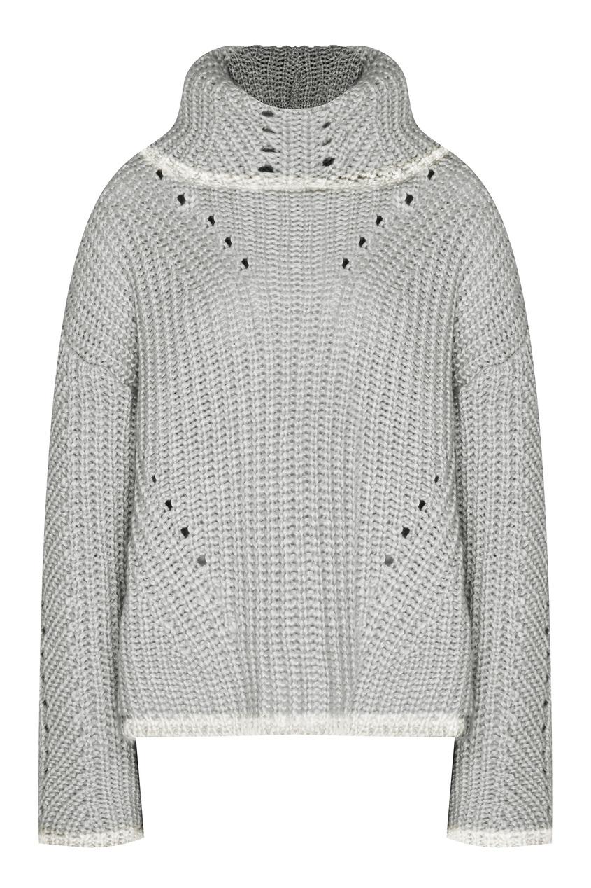 Серый свитер с ажурной отделкой от Fendi