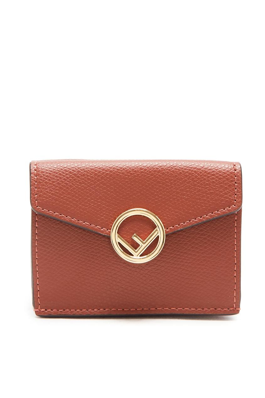 Коричневый кошелек с логотипом Fendi