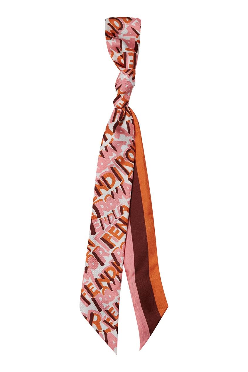 Розовый шарф-бандо с принтом от Fendi