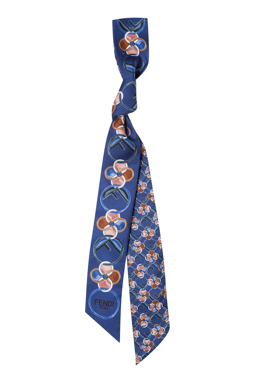 Синий шелковый шарф-бандо от Fendi
