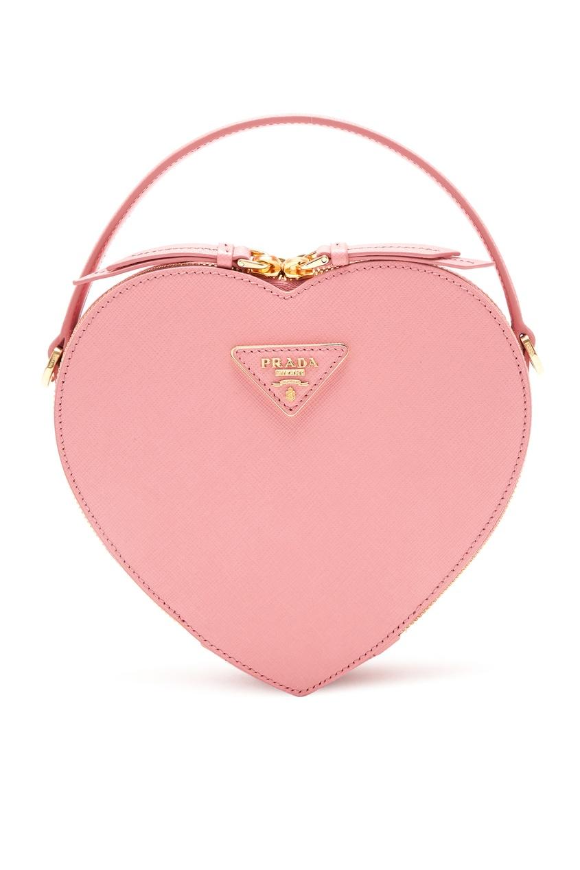 Розовая сумка Odetta в форме сердца PRADA
