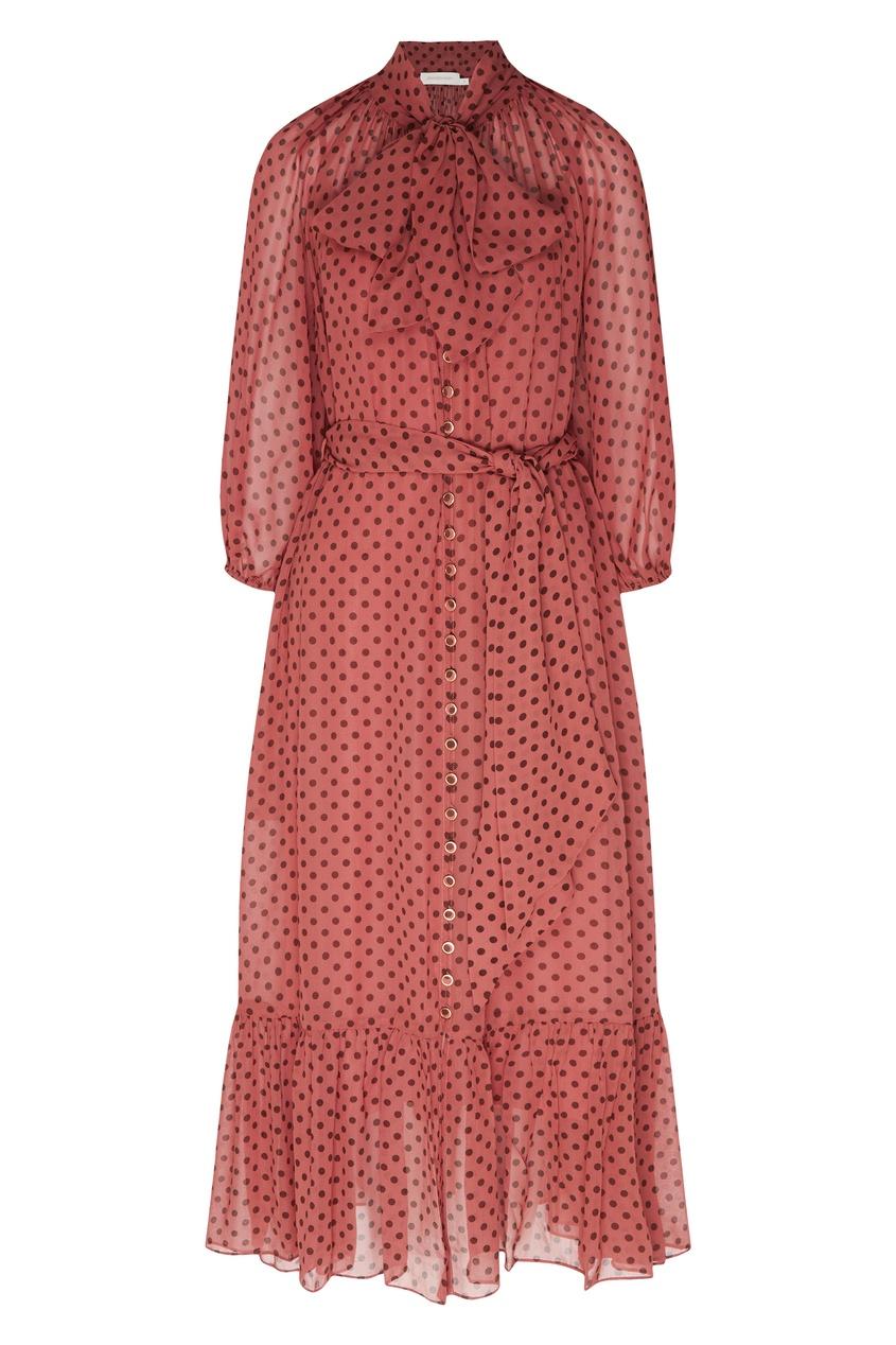 Темно-розовое платье с узором Zimmermann